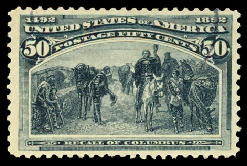 Costs of US Stamps Scott Cat. 240 - 1893 50c Columbian Exposition. Daniel Kelleher Auctions, Aug 2015, Sale 672, Lot 2485