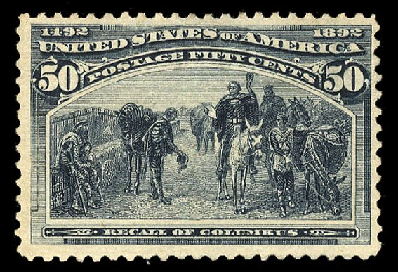 Price of US Stamp Scott Catalogue #240 - 1893 50c Columbian Exposition. Cherrystone Auctions, Jul 2015, Sale 201507, Lot 62