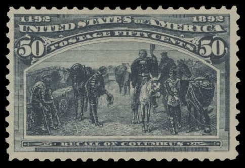 Value of US Stamps Scott Cat. # 240 - 1893 50c Columbian Exposition. Daniel Kelleher Auctions, Aug 2015, Sale 672, Lot 2483