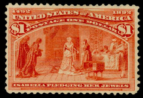 Values of US Stamp Scott Cat. #241 - 1893 US$1.00 Columbian Exposition. Daniel Kelleher Auctions, Aug 2015, Sale 672, Lot 2487