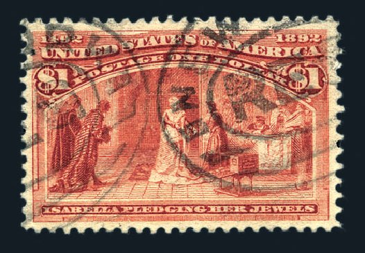 Values of US Stamp Scott 241: US$1.00 1893 Columbian Exposition. Harmer-Schau Auction Galleries, Aug 2015, Sale 106, Lot 1638