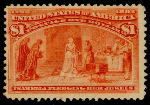 US Stamps Value Scott 241 - US$1.00 1893 Columbian Exposition. Daniel Kelleher Auctions, Aug 2015, Sale 672, Lot 2488