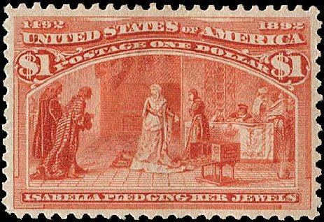 Values of US Stamp Scott Catalogue 241: 1893 US$1.00 Columbian Exposition. Regency-Superior, Aug 2015, Sale 112, Lot 448