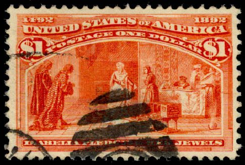 Costs of US Stamps Scott 241 - US$1.00 1893 Columbian Exposition. Daniel Kelleher Auctions, Aug 2015, Sale 672, Lot 2489