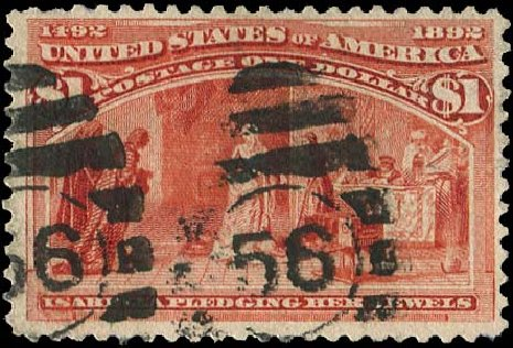 Prices of US Stamps Scott Catalogue # 241 - 1893 US$1.00 Columbian Exposition. Regency-Superior, Aug 2015, Sale 112, Lot 451