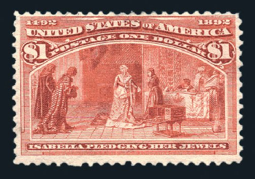 US Stamp Price Scott Cat. 241: 1893 US$1.00 Columbian Exposition. Harmer-Schau Auction Galleries, Aug 2015, Sale 106, Lot 1634