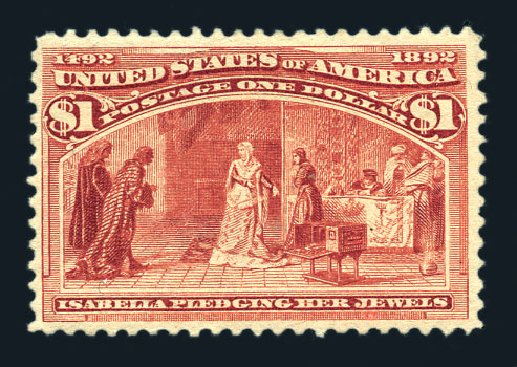Costs of US Stamps Scott Catalog # 241 - 1893 US$1.00 Columbian Exposition. Harmer-Schau Auction Galleries, Aug 2015, Sale 106, Lot 1635