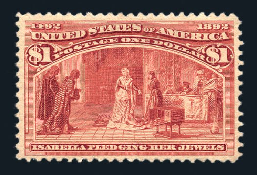 US Stamps Prices Scott # 241 - 1893 US$1.00 Columbian Exposition. Harmer-Schau Auction Galleries, Aug 2015, Sale 106, Lot 1632