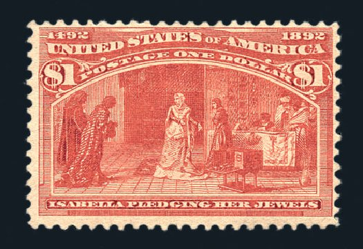 Prices of US Stamp Scott Catalogue #241 - US$1.00 1893 Columbian Exposition. Harmer-Schau Auction Galleries, Aug 2015, Sale 106, Lot 1633