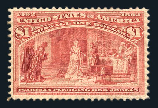 US Stamps Prices Scott Cat. # 241 - 1893 US$1.00 Columbian Exposition. Harmer-Schau Auction Galleries, Aug 2015, Sale 106, Lot 1636