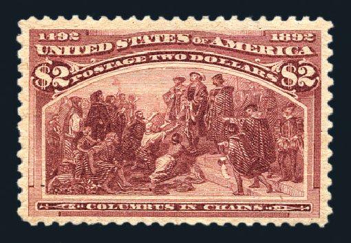 Values of US Stamps Scott Catalog 242 - US$2.00 1893 Columbian Exposition. Harmer-Schau Auction Galleries, Aug 2015, Sale 106, Lot 1639