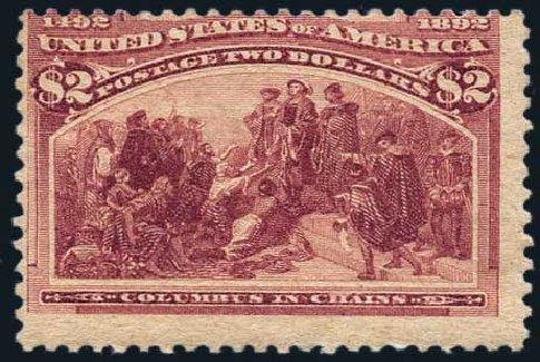 Value of US Stamps Scott Catalogue #242 - 1893 US$2.00 Columbian Exposition. Harmer-Schau Auction Galleries, May 2015, Sale 105, Lot 140