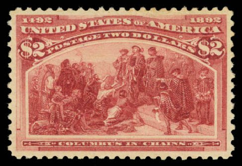 Price of US Stamp Scott Cat. 242: US$2.00 1893 Columbian Exposition. Daniel Kelleher Auctions, Aug 2015, Sale 672, Lot 2490