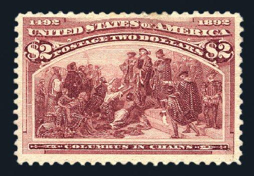 US Stamps Values Scott Catalog #242: 1893 US$2.00 Columbian Exposition. Harmer-Schau Auction Galleries, Aug 2015, Sale 106, Lot 1641
