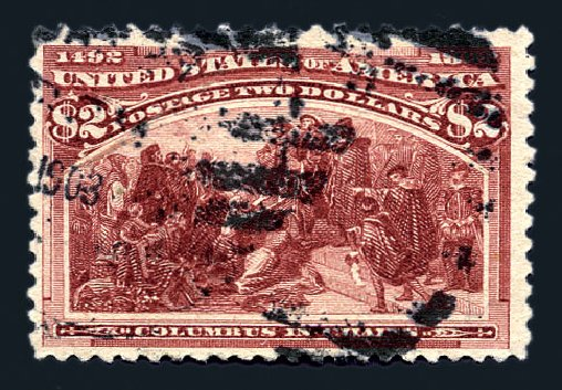 Values of US Stamp Scott Catalogue #242 - US$2.00 1893 Columbian Exposition. Harmer-Schau Auction Galleries, Aug 2015, Sale 106, Lot 1644