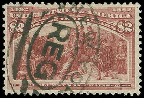 US Stamps Price Scott # 242: US$2.00 1893 Columbian Exposition. H.R. Harmer, Jun 2015, Sale 3007, Lot 3254