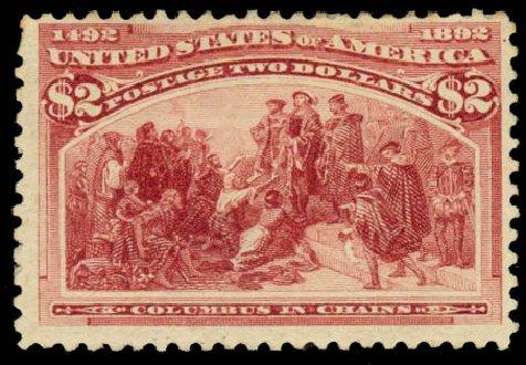 Values of US Stamp Scott # 242: 1893 US$2.00 Columbian Exposition. Daniel Kelleher Auctions, Aug 2015, Sale 672, Lot 2494