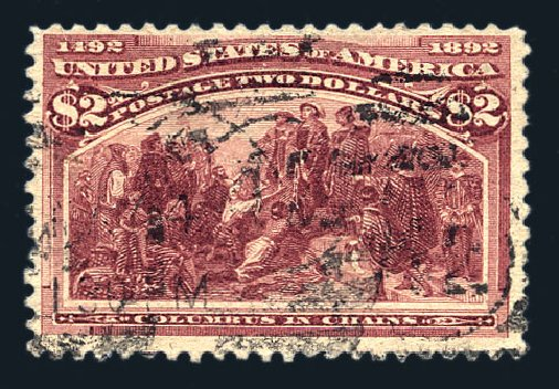 Cost of US Stamps Scott Catalogue # 242: 1893 US$2.00 Columbian Exposition. Harmer-Schau Auction Galleries, Aug 2015, Sale 106, Lot 1645