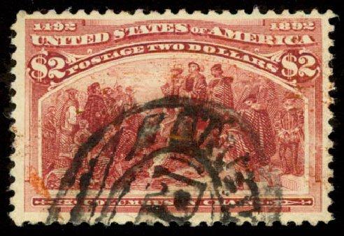 Value of US Stamp Scott Catalog # 242: 1893 US$2.00 Columbian Exposition. Daniel Kelleher Auctions, Aug 2015, Sale 672, Lot 2495