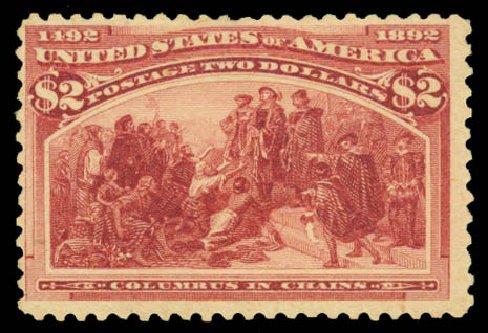 US Stamp Prices Scott Cat. #242: 1893 US$2.00 Columbian Exposition. Daniel Kelleher Auctions, Aug 2015, Sale 672, Lot 2492