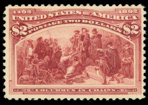 Values of US Stamp Scott Catalogue # 242 - 1893 US$2.00 Columbian Exposition. Daniel Kelleher Auctions, Aug 2015, Sale 672, Lot 2493