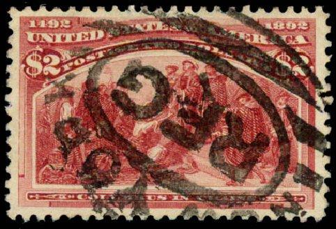 US Stamp Value Scott # 242 - 1893 US$2.00 Columbian Exposition. Daniel Kelleher Auctions, Aug 2015, Sale 672, Lot 2496