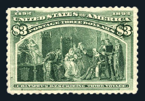 Values of US Stamps Scott #243 - US$3.00 1893 Columbian Exposition. Harmer-Schau Auction Galleries, Aug 2015, Sale 106, Lot 1647