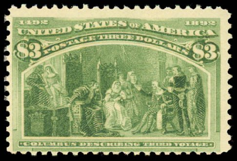 US Stamp Prices Scott Cat. # 243: 1893 US$3.00 Columbian Exposition. Daniel Kelleher Auctions, Aug 2015, Sale 672, Lot 2497