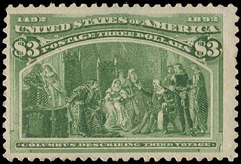US Stamp Value Scott Cat. #243: 1893 US$3.00 Columbian Exposition. Regency-Superior, Aug 2015, Sale 112, Lot 467