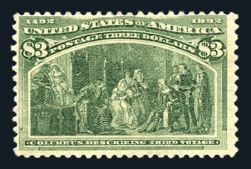 US Stamp Values Scott Catalogue 243 - 1893 US$3.00 Columbian Exposition. Harmer-Schau Auction Galleries, Aug 2015, Sale 106, Lot 1648