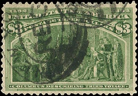 US Stamps Prices Scott Catalog #243 - US$3.00 1893 Columbian Exposition. Regency-Superior, Aug 2015, Sale 112, Lot 468