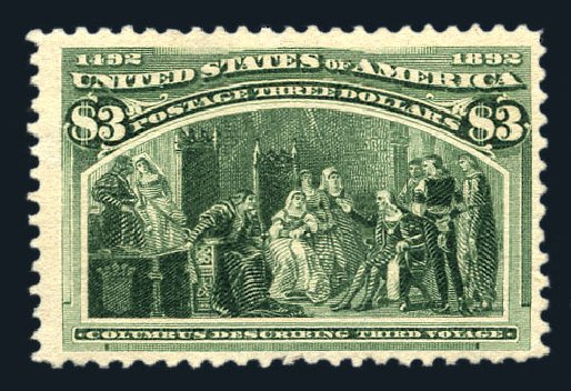 Values of US Stamp Scott Cat. 243: 1893 US$3.00 Columbian Exposition. Harmer-Schau Auction Galleries, Aug 2015, Sale 106, Lot 1649