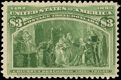 Costs of US Stamp Scott # 243 - 1893 US$3.00 Columbian Exposition. Regency-Superior, Aug 2015, Sale 112, Lot 469