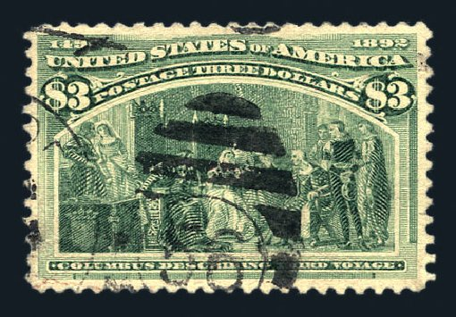 Value of US Stamps Scott Catalog # 243: 1893 US$3.00 Columbian Exposition. Harmer-Schau Auction Galleries, Aug 2015, Sale 106, Lot 1650