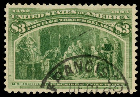 Prices of US Stamp Scott # 243: 1893 US$3.00 Columbian Exposition. Daniel Kelleher Auctions, Aug 2015, Sale 672, Lot 2500
