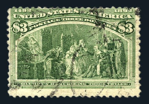 Prices of US Stamp Scott Catalogue #243: US$3.00 1893 Columbian Exposition. Harmer-Schau Auction Galleries, Aug 2015, Sale 106, Lot 1651