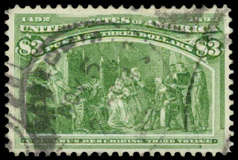 Cost of US Stamp Scott Catalogue # 243: 1893 US$3.00 Columbian Exposition. Daniel Kelleher Auctions, Aug 2015, Sale 672, Lot 2501
