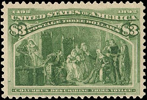 Cost of US Stamp Scott Catalogue 243: US$3.00 1893 Columbian Exposition. Regency-Superior, Aug 2015, Sale 112, Lot 465