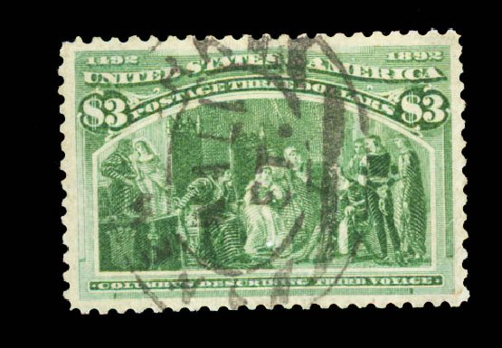 US Stamps Value Scott Catalog 243 - US$3.00 1893 Columbian Exposition. Daniel Kelleher Auctions, Aug 2015, Sale 672, Lot 2502