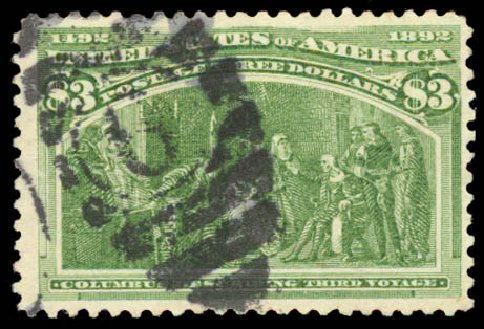 Price of US Stamp Scott Cat. #243 - 1893 US$3.00 Columbian Exposition. Daniel Kelleher Auctions, Aug 2015, Sale 672, Lot 2503