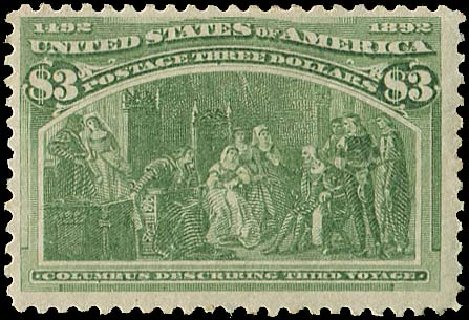 US Stamps Value Scott Catalog # 243: 1893 US$3.00 Columbian Exposition. Regency-Superior, Aug 2015, Sale 112, Lot 466