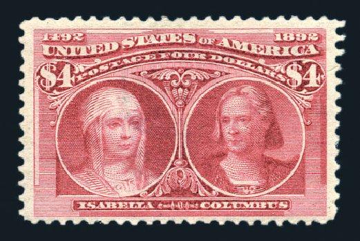 Price of US Stamp Scott Cat. #244: US$4.00 1893 Columbian Exposition. Harmer-Schau Auction Galleries, Aug 2015, Sale 106, Lot 1657
