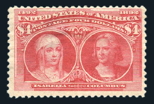 Value of US Stamp Scott Cat. 244: US$4.00 1893 Columbian Exposition. Harmer-Schau Auction Galleries, Aug 2015, Sale 106, Lot 1658