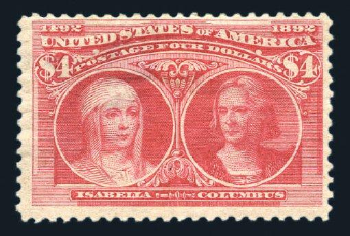 Value of US Stamp Scott Cat. 244: US$4.00 1893 Columbian Exposition. Harmer-Schau Auction Galleries, Aug 2015, Sale 106, Lot 1658