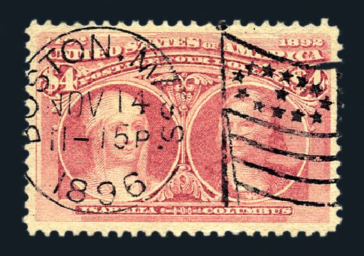 Value of US Stamp Scott # 244 - 1893 US$4.00 Columbian Exposition. Harmer-Schau Auction Galleries, Aug 2015, Sale 106, Lot 1660