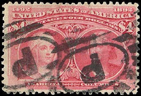 US Stamp Price Scott 244 - US$4.00 1893 Columbian Exposition. Regency-Superior, Aug 2015, Sale 112, Lot 480
