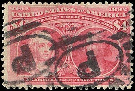 US Stamp Price Scott 244 - US$4.00 1893 Columbian Exposition. Regency-Superior, Aug 2015, Sale 112, Lot 480