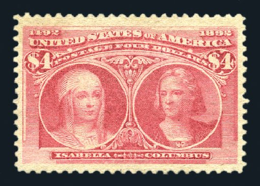 Value of US Stamps Scott Catalogue # 244: 1893 US$4.00 Columbian Exposition. Harmer-Schau Auction Galleries, Aug 2015, Sale 106, Lot 1661