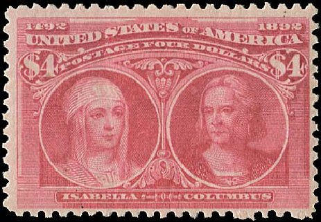US Stamp Values Scott #244 - US$4.00 1893 Columbian Exposition. Regency-Superior, Aug 2015, Sale 112, Lot 481