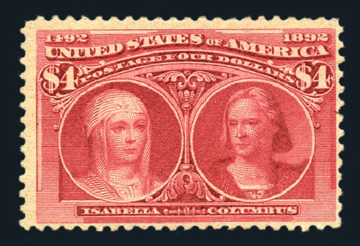 US Stamps Value Scott Catalogue # 244: 1893 US$4.00 Columbian Exposition. Harmer-Schau Auction Galleries, Aug 2015, Sale 106, Lot 1654